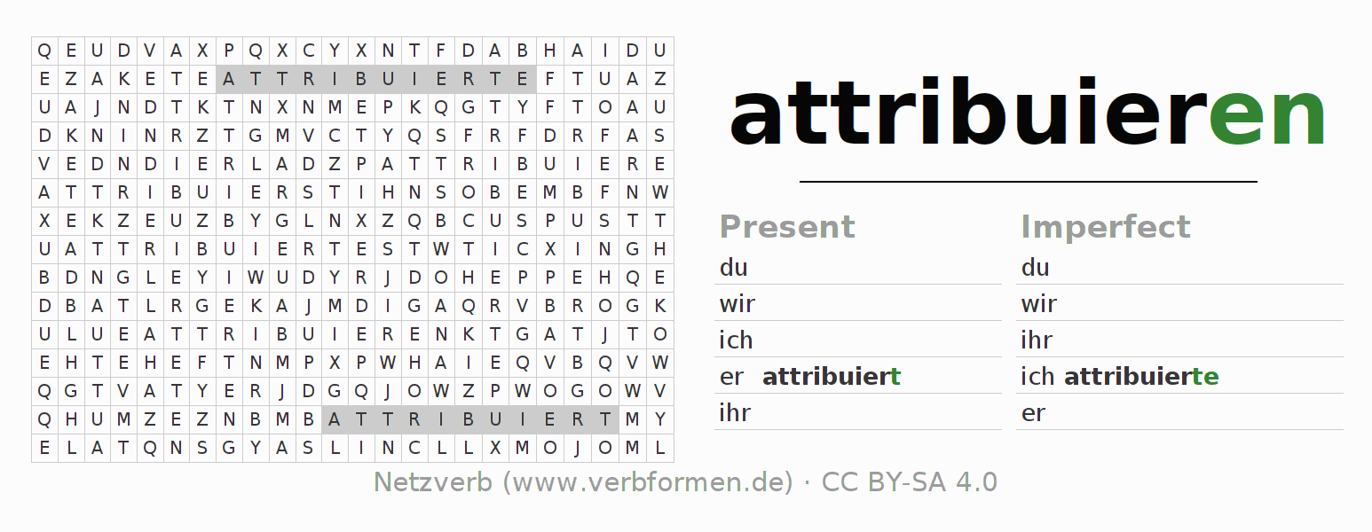 Word search puzzle for the conjugation of the verb attribuieren