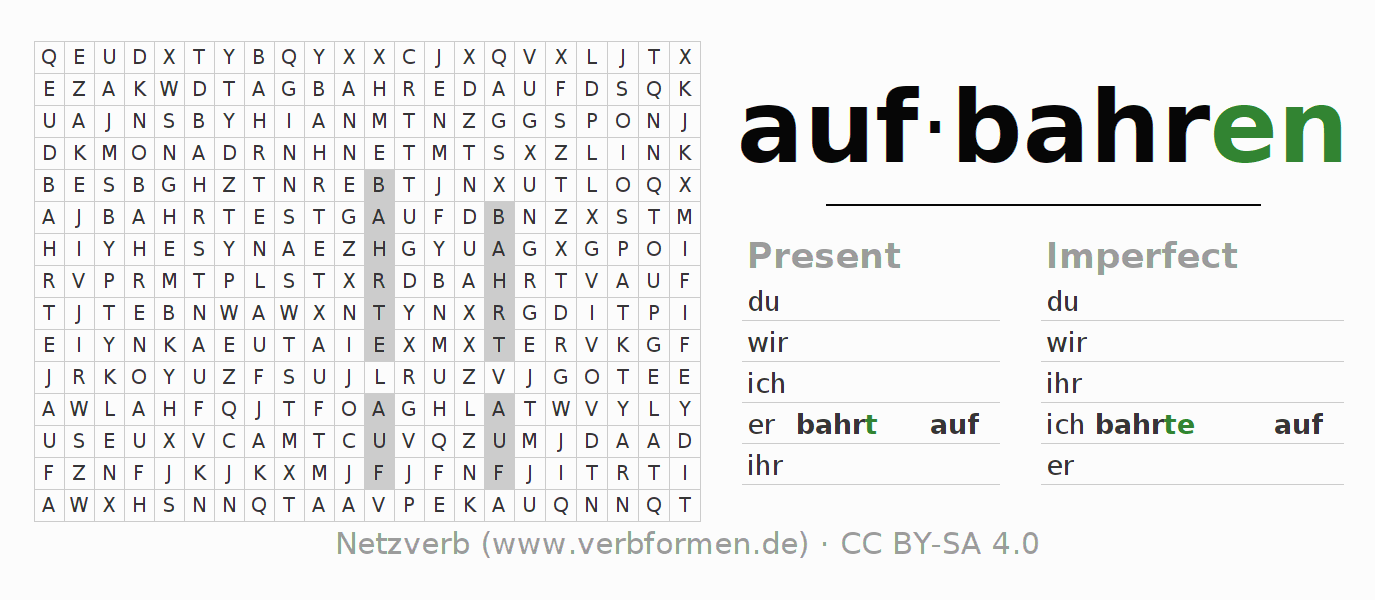 Word search puzzle for the conjugation of the verb aufbahren