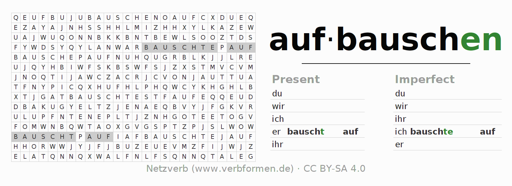 Word search puzzle for the conjugation of the verb aufbauschen