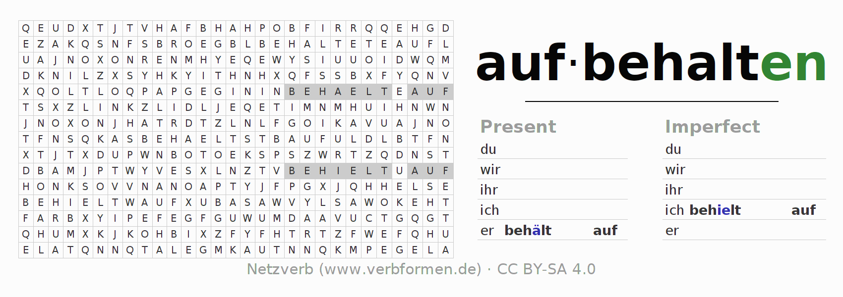 Word search puzzle for the conjugation of the verb aufbehalten