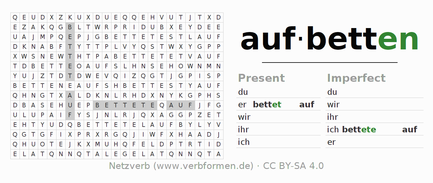 Word search puzzle for the conjugation of the verb aufbetten