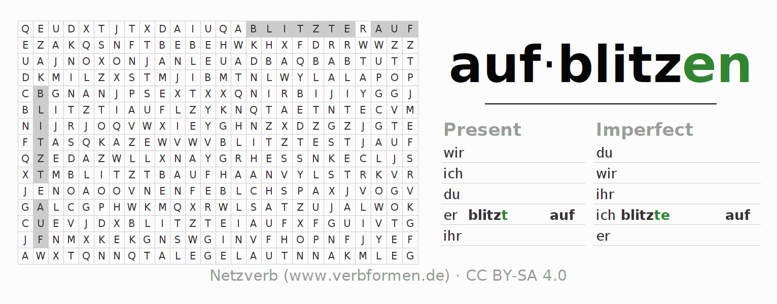 Word search puzzle for the conjugation of the verb aufblitzen (ist)