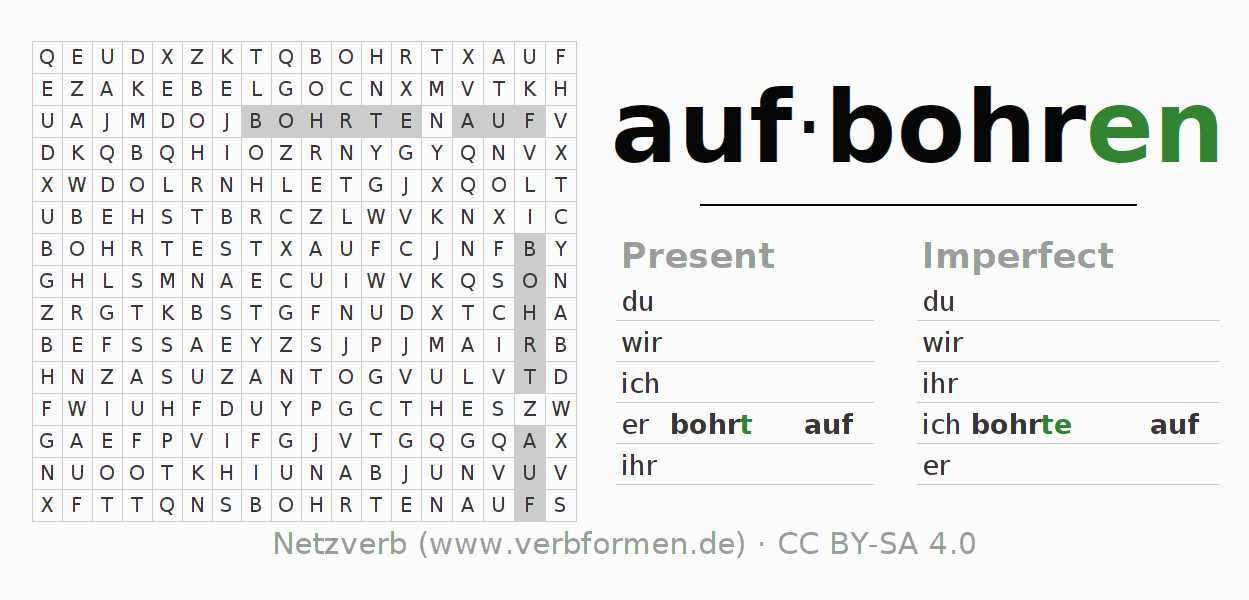 Word search puzzle for the conjugation of the verb aufbohren