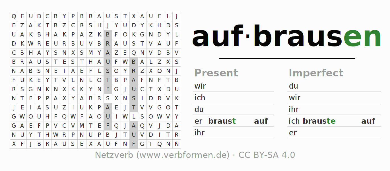 Word search puzzle for the conjugation of the verb aufbrausen