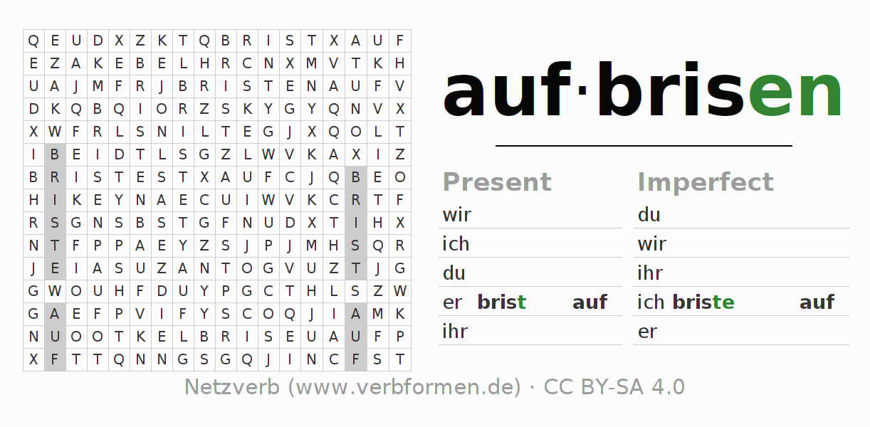Word search puzzle for the conjugation of the verb aufbrisen