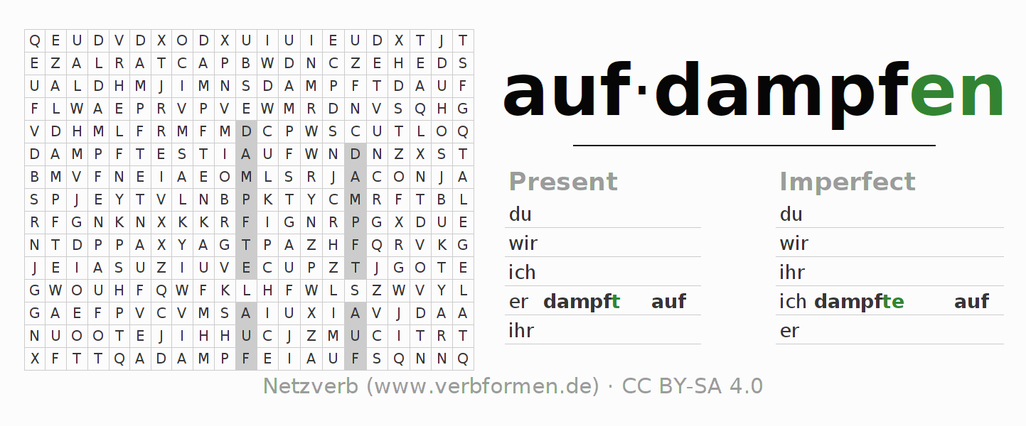 Word search puzzle for the conjugation of the verb aufdampfen (ist)