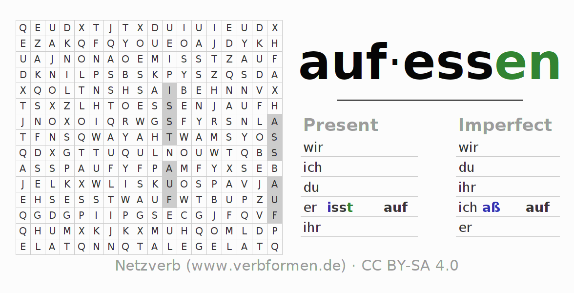 Word search puzzle for the conjugation of the verb aufessen