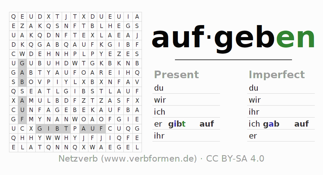 Word search puzzle for the conjugation of the verb aufgeben