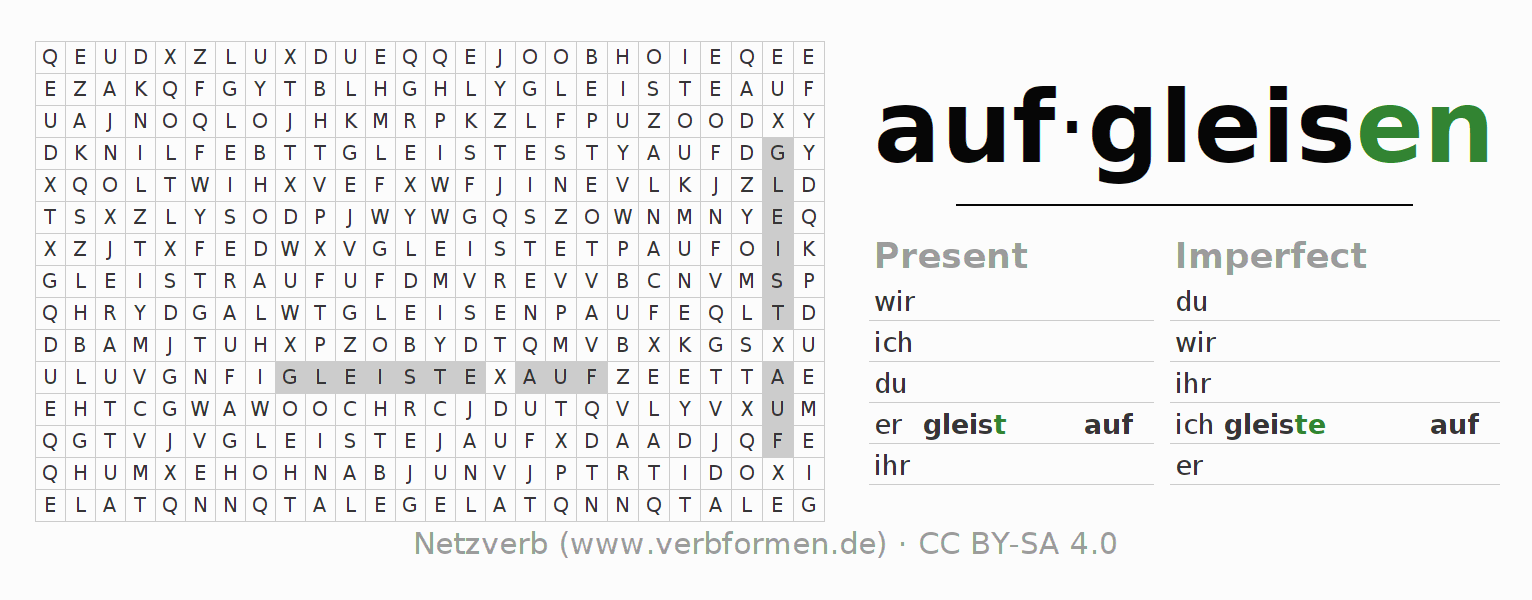 Word search puzzle for the conjugation of the verb aufgleisen