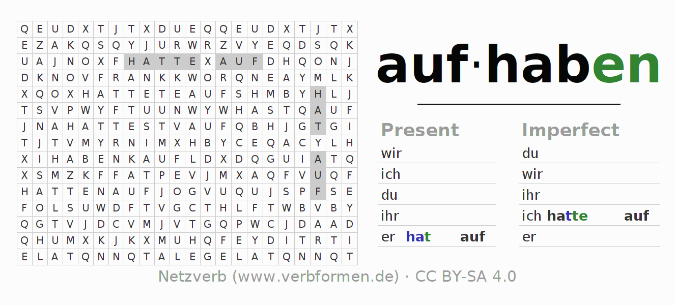 Word search puzzle for the conjugation of the verb aufhaben