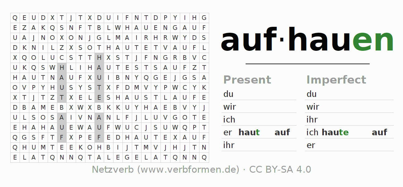 Word search puzzle for the conjugation of the verb aufhauen (regelm) (ist)