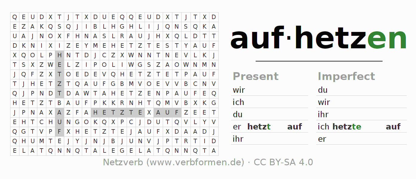 Word search puzzle for the conjugation of the verb aufhetzen