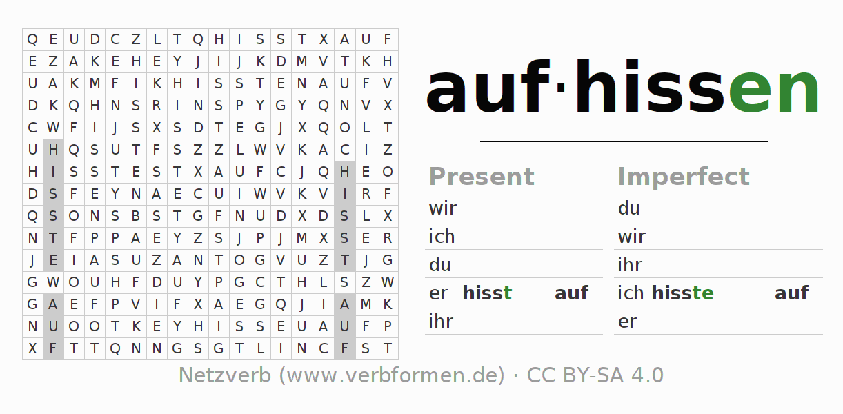 Word search puzzle for the conjugation of the verb aufhissen