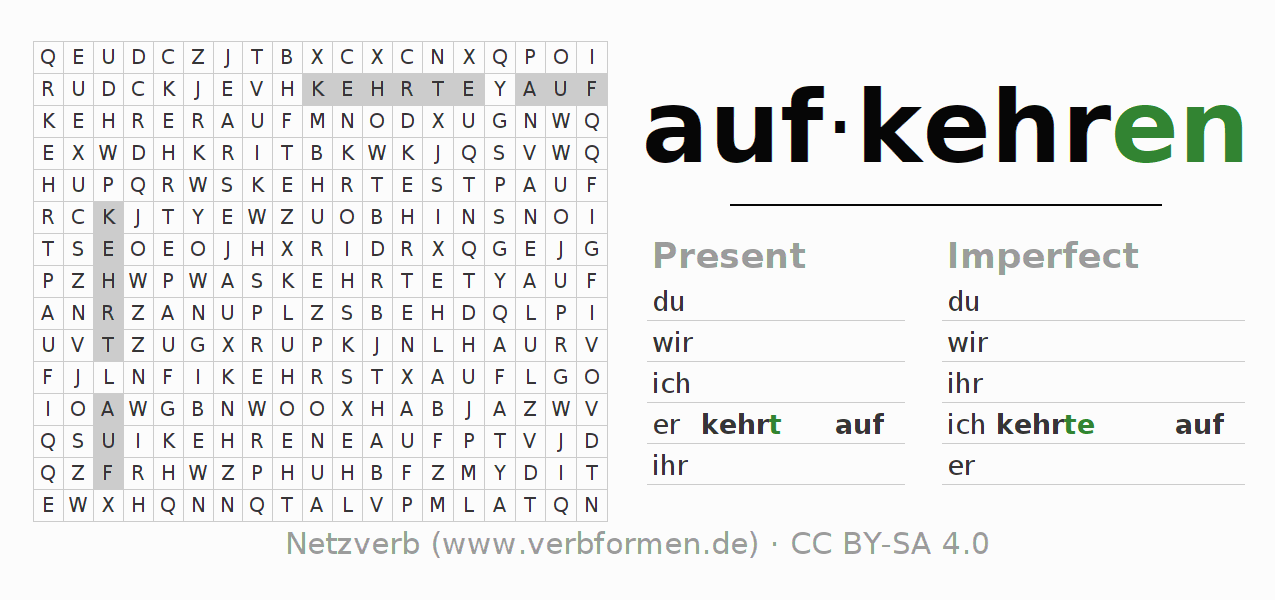 Word search puzzle for the conjugation of the verb aufkehren