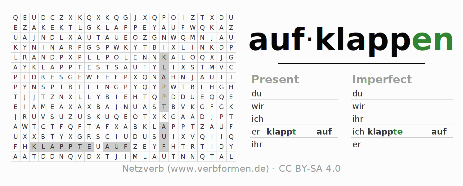 Word search puzzle for the conjugation of the verb aufklappen (hat)
