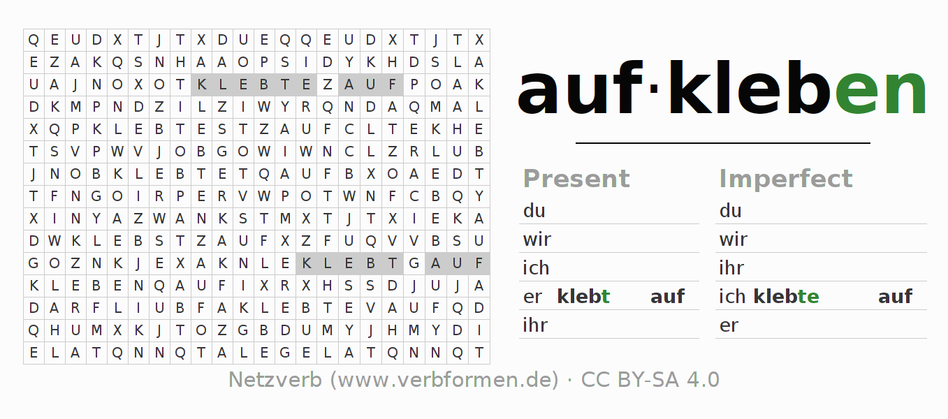 Word search puzzle for the conjugation of the verb aufkleben