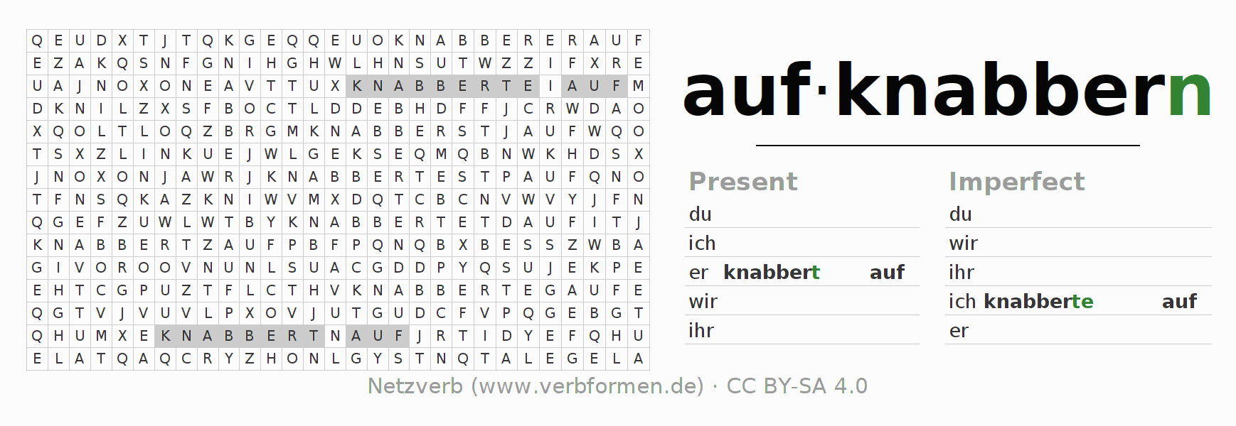 Word search puzzle for the conjugation of the verb aufknabbern