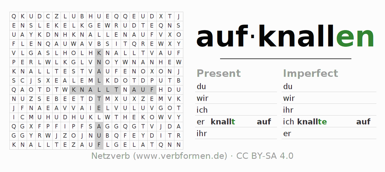Word search puzzle for the conjugation of the verb aufknallen (hat)
