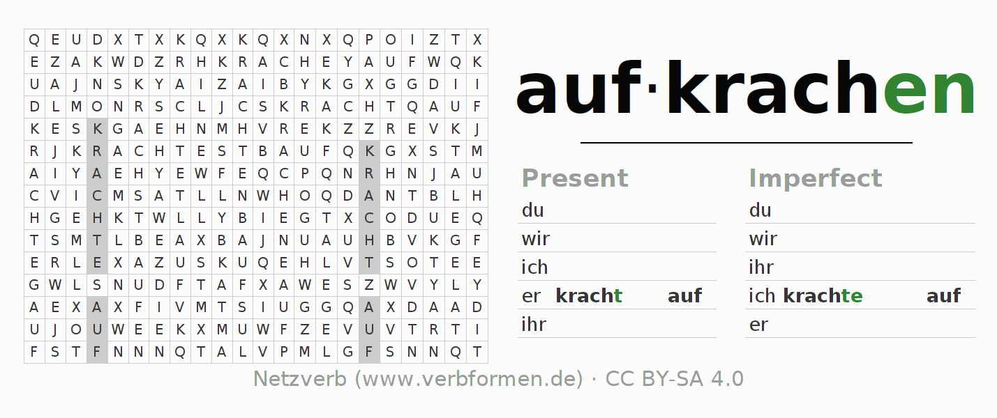 Word search puzzle for the conjugation of the verb aufkrachen