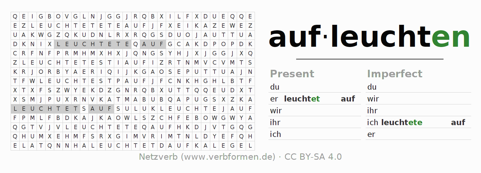 Word search puzzle for the conjugation of the verb aufleuchten (ist)