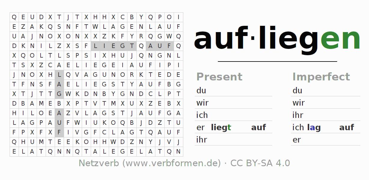 Word search puzzle for the conjugation of the verb aufliegen (hat)