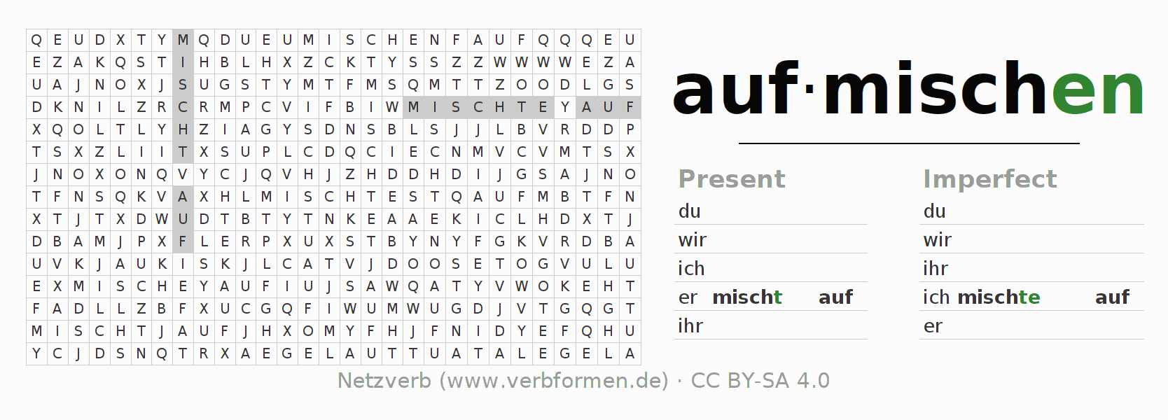 Word search puzzle for the conjugation of the verb aufmischen