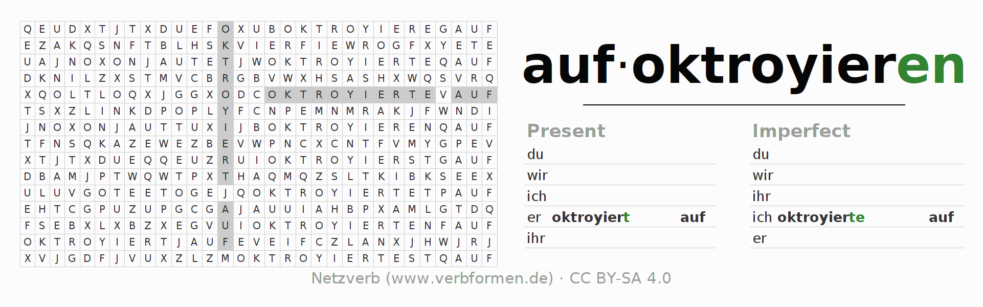 Word search puzzle for the conjugation of the verb aufoktroyieren
