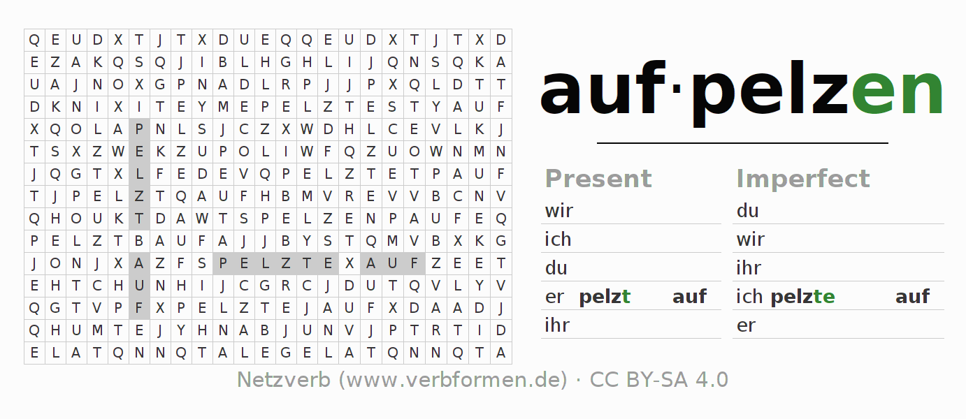 Word search puzzle for the conjugation of the verb aufpelzen