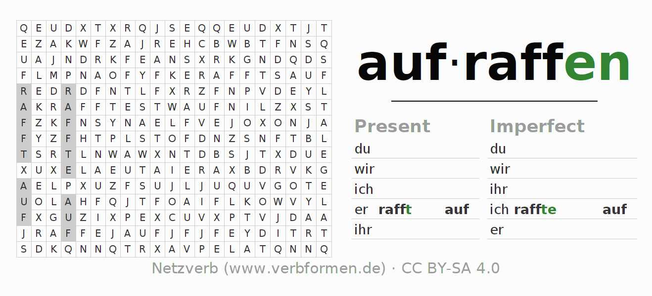Word search puzzle for the conjugation of the verb aufraffen
