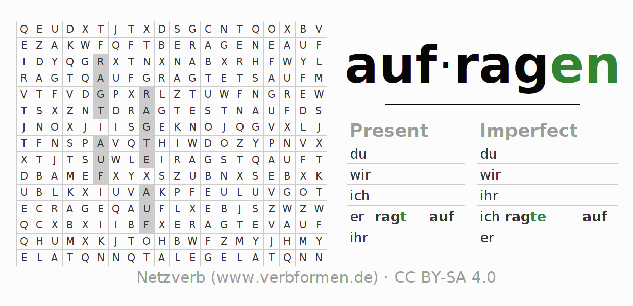 Word search puzzle for the conjugation of the verb aufragen