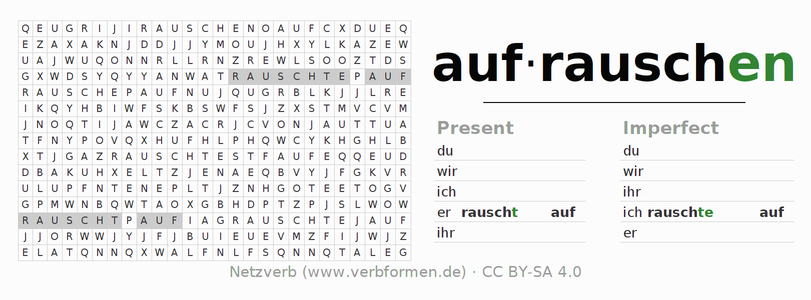 Word search puzzle for the conjugation of the verb aufrauschen (ist)