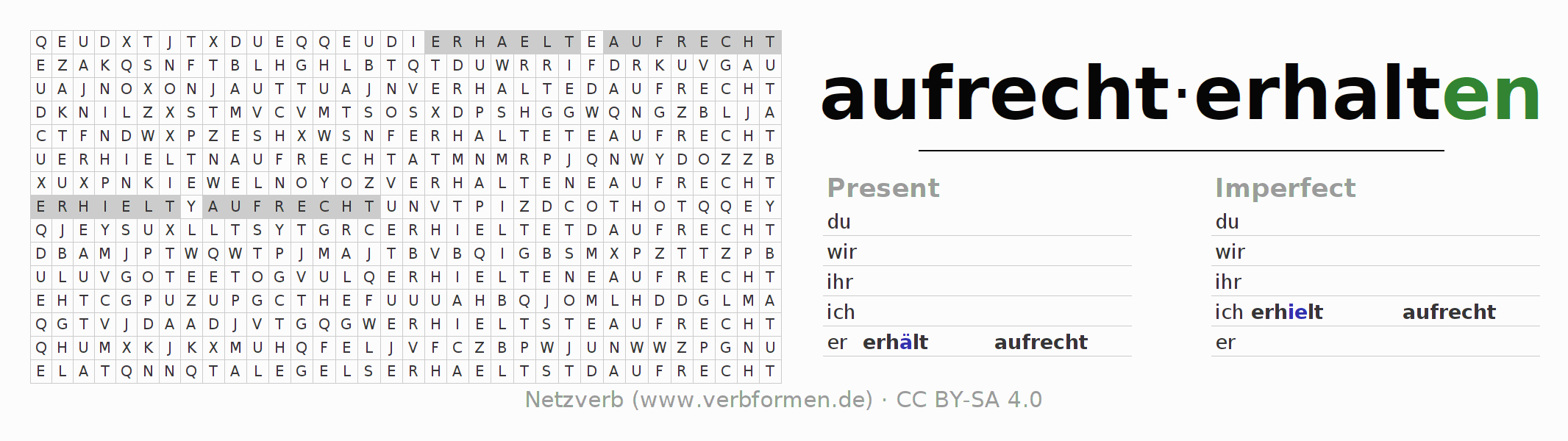 Word search puzzle for the conjugation of the verb aufrechterhalten