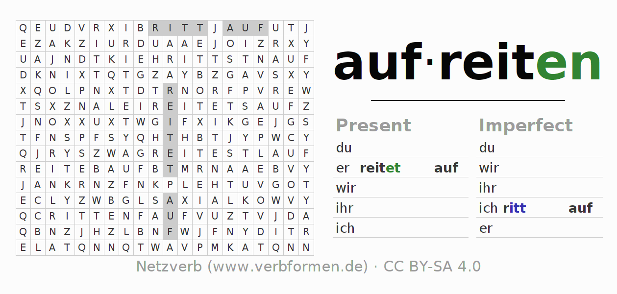 Word search puzzle for the conjugation of the verb aufreiten (ist)