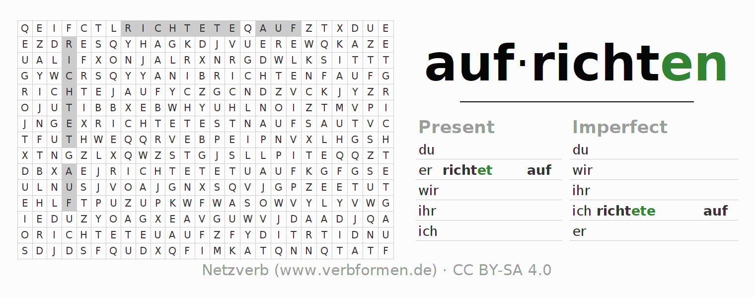 Word search puzzle for the conjugation of the verb aufrichten