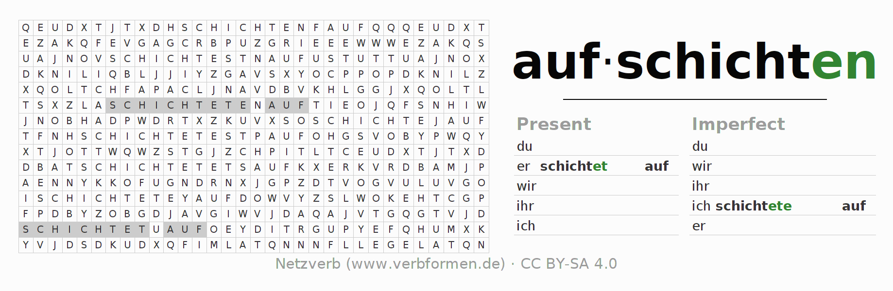 Word search puzzle for the conjugation of the verb aufschichten