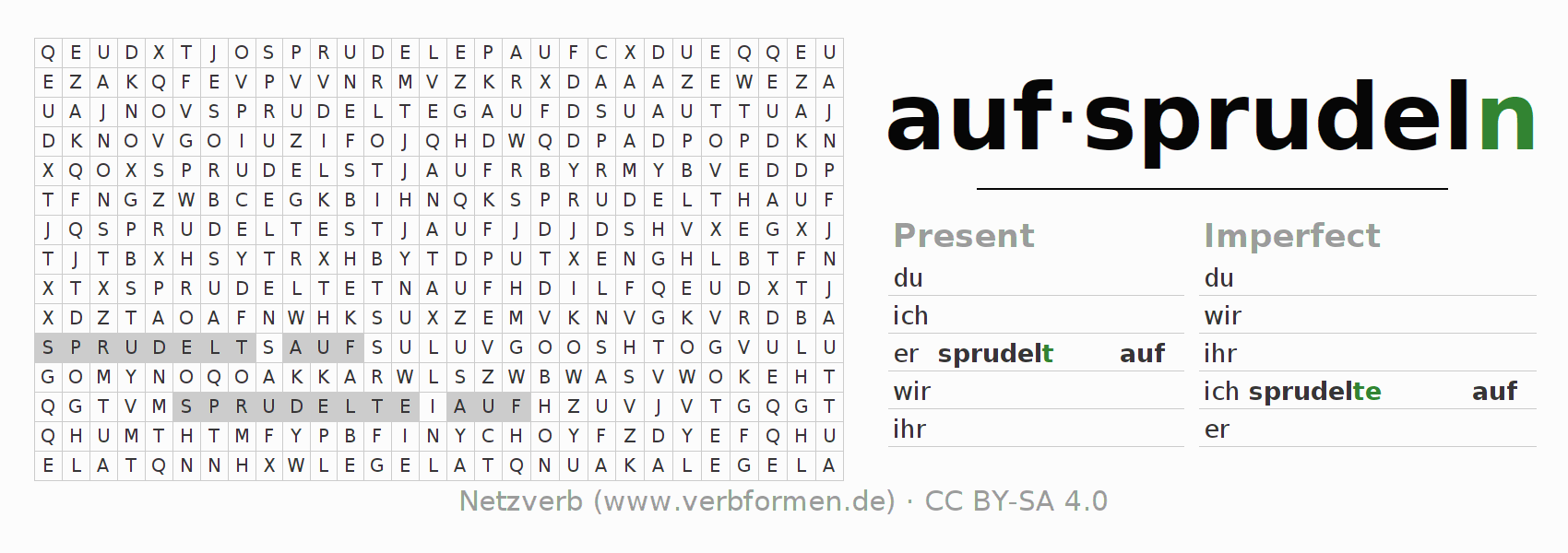 Word search puzzle for the conjugation of the verb aufsprudeln