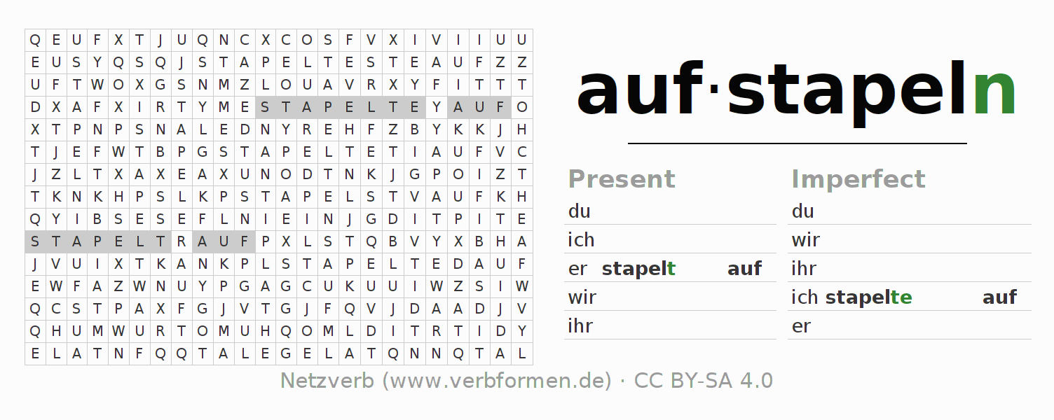 Word search puzzle for the conjugation of the verb aufstapeln