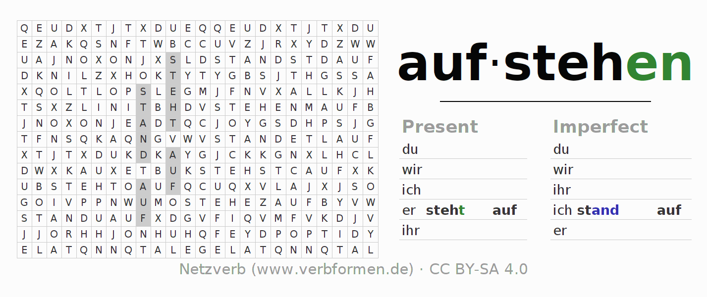 Word search puzzle for the conjugation of the verb aufstehen (ist)