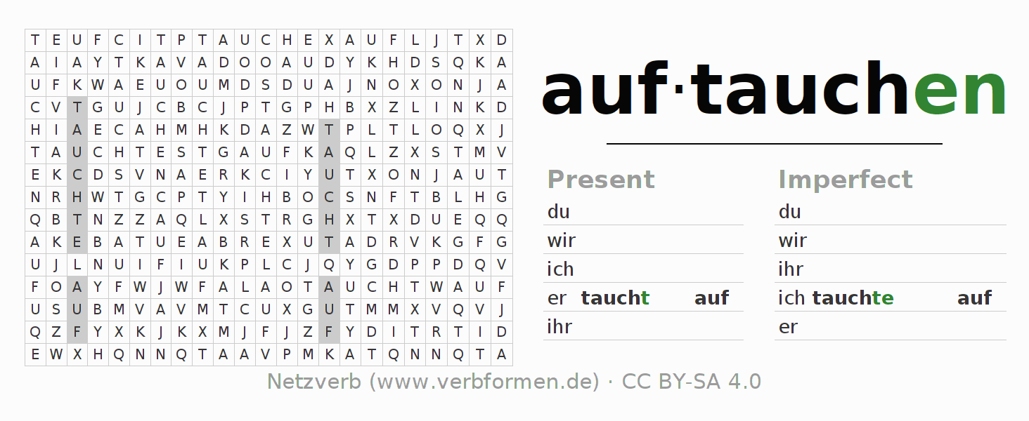 Word search puzzle for the conjugation of the verb auftauchen