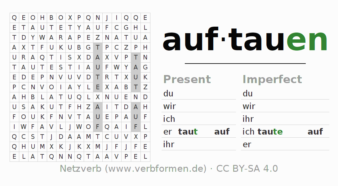 Word search puzzle for the conjugation of the verb auftauen (hat)