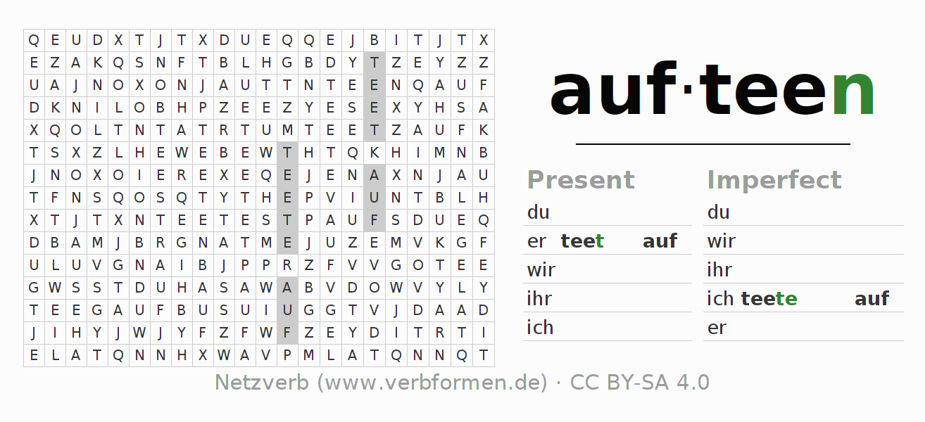 Word search puzzle for the conjugation of the verb aufteen