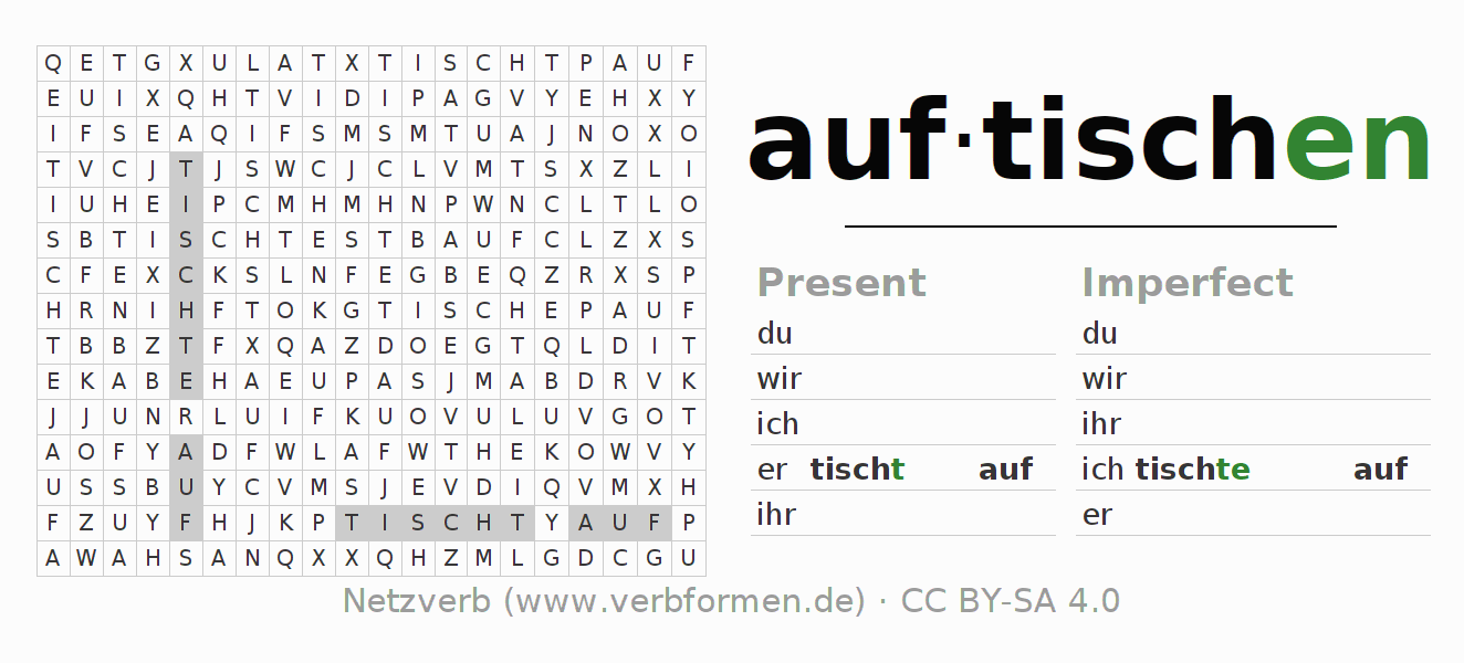 Word search puzzle for the conjugation of the verb auftischen