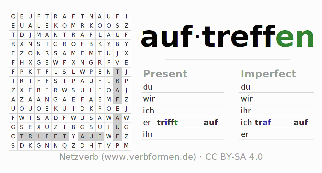 Word search puzzle for the conjugation of the verb auftreffen
