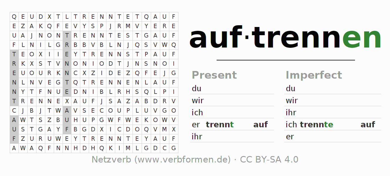 Word search puzzle for the conjugation of the verb auftrennen