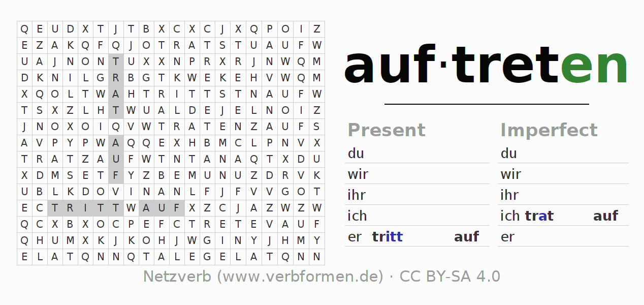Word search puzzle for the conjugation of the verb auftreten (ist)