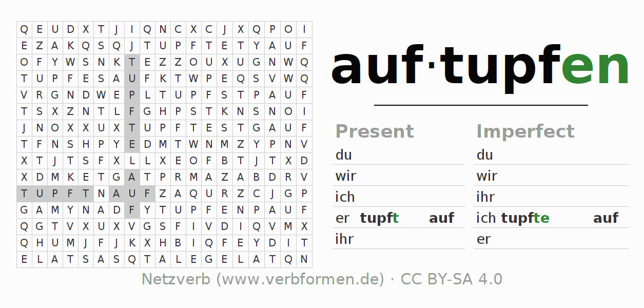 Word search puzzle for the conjugation of the verb auftupfen