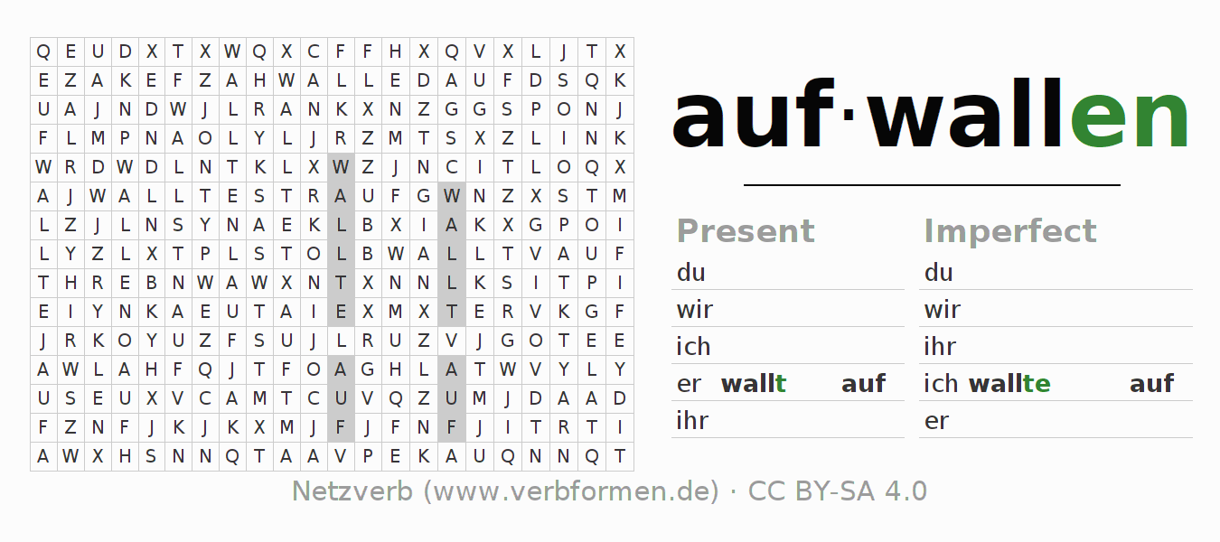 Word search puzzle for the conjugation of the verb aufwallen