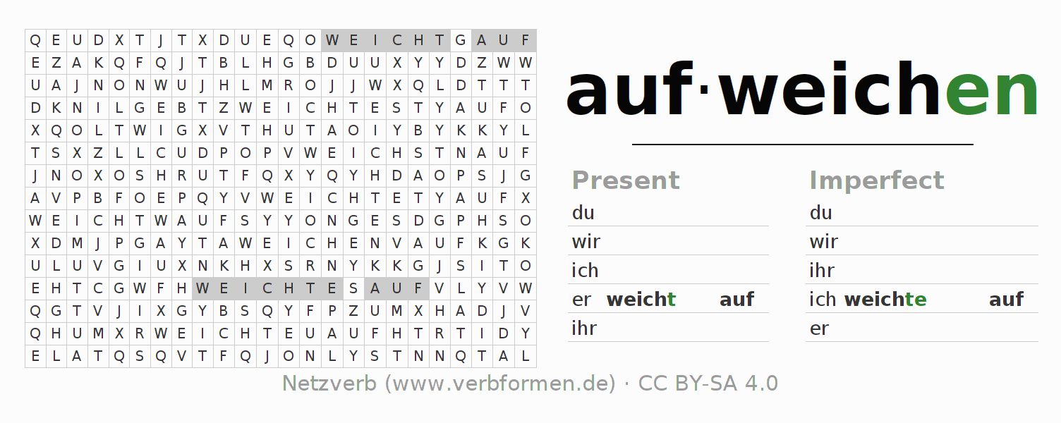 Word search puzzle for the conjugation of the verb aufweichen (hat)