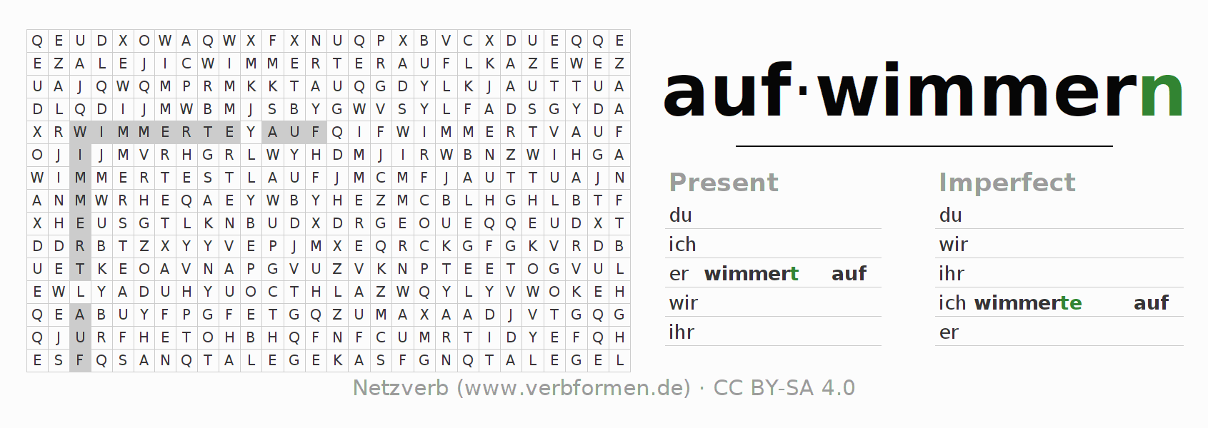 Word search puzzle for the conjugation of the verb aufwimmern