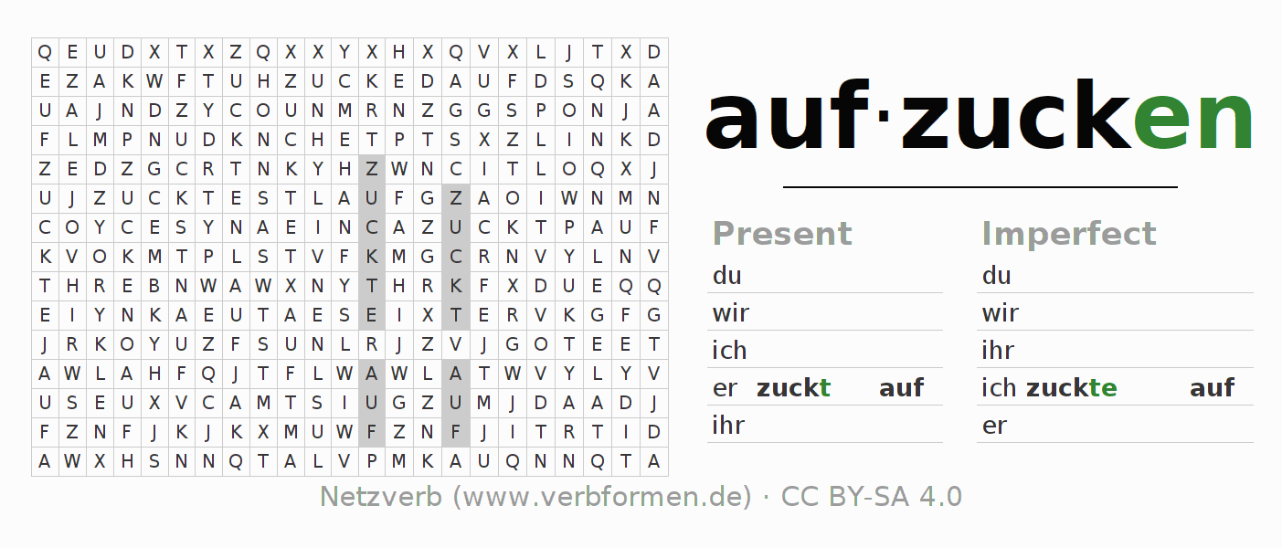 Word search puzzle for the conjugation of the verb aufzucken (hat)